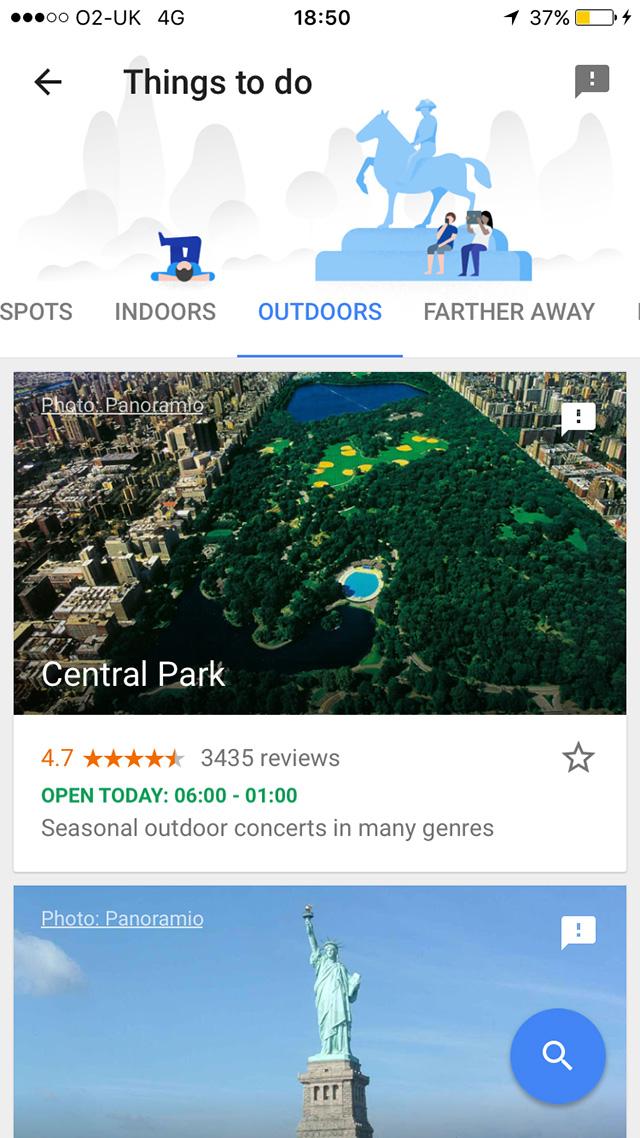 Capture d'écran Google Trips