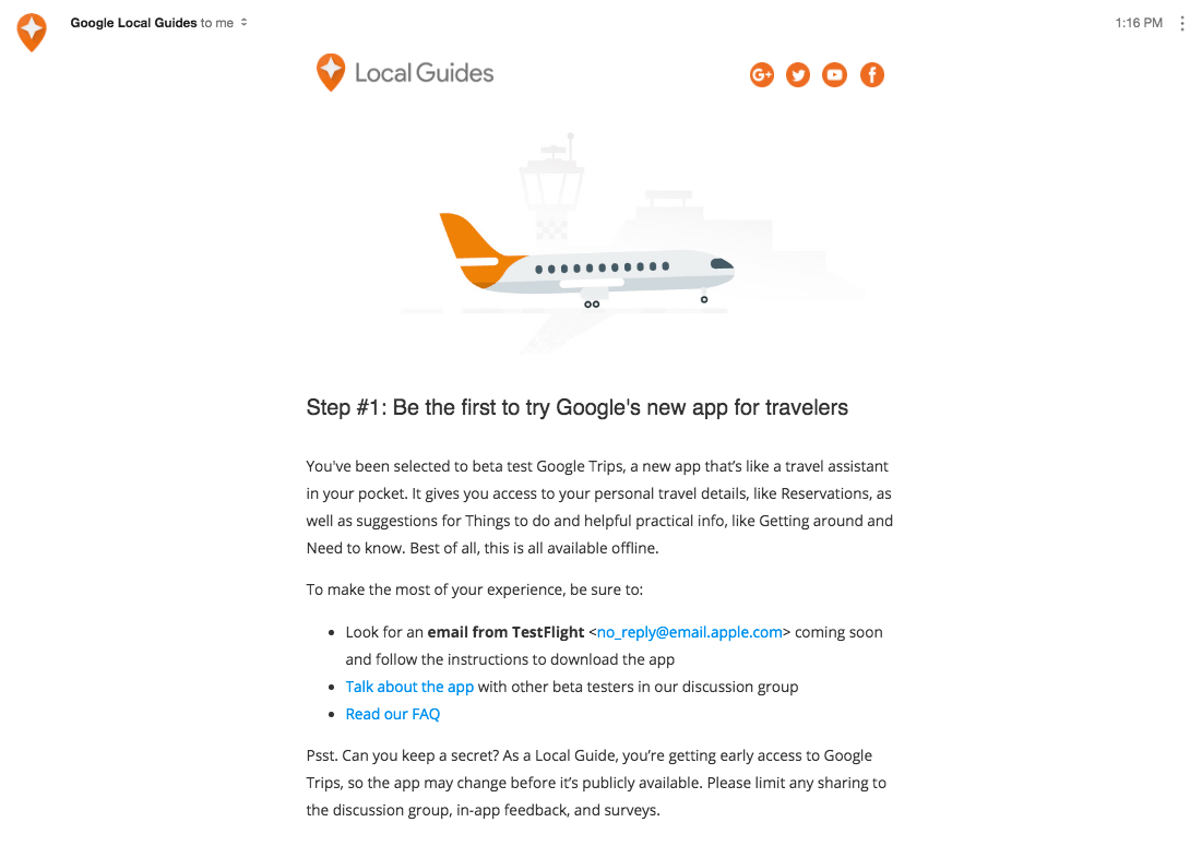 Email Google Trips