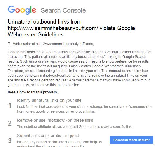 Google a pénalisé des liens sortants artificiels