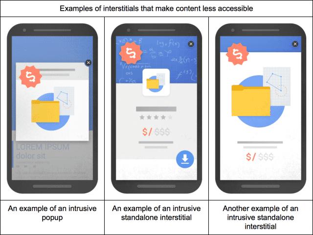 Exemples des interstitiels pénalisés par Google