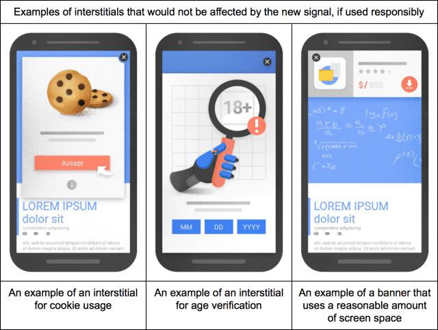 Exemples d'interstitiels non pénalisés par Google