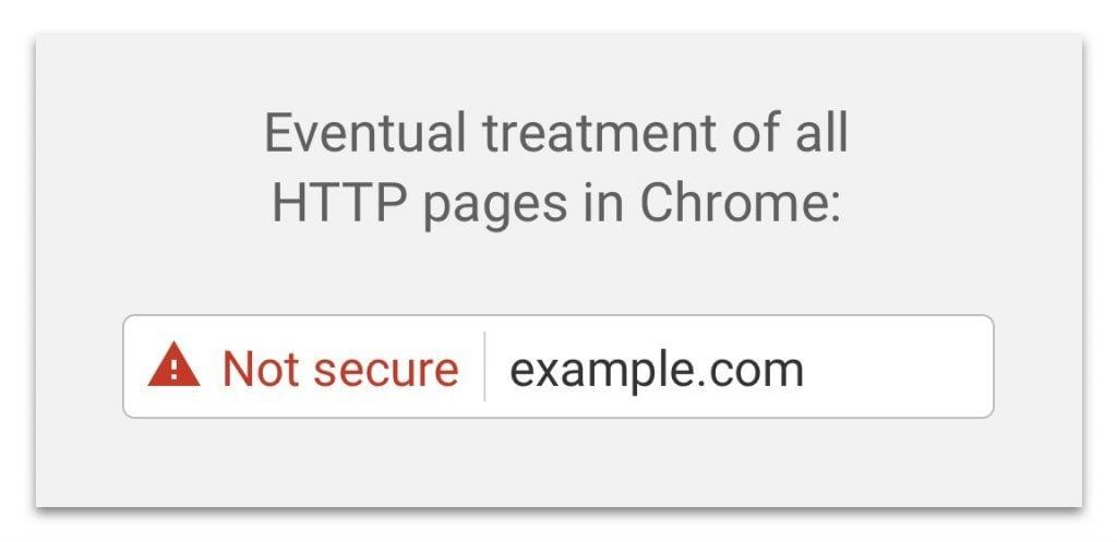 Mention non sécurisé en rouge pour les sites HTTP