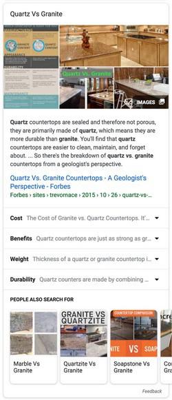 Featured Snippet thématique: Granit VS Quartz