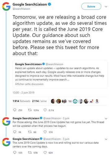 Mise à jour algorithme Google par Referenceur Juin 2019