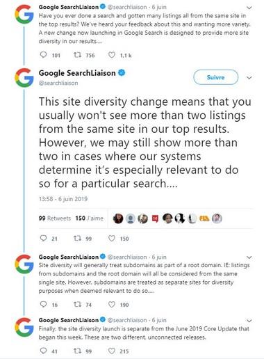 Site Diversity la mise à jour de Google Juin 2019 par Referenceur