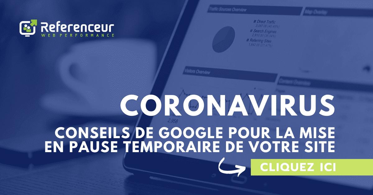 Coronavirus conseils de Google pour la mise en pause temporaire de votre site